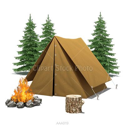 Camping Clip Art Illustration, Royalty Free Tent & Fire Stock Image.