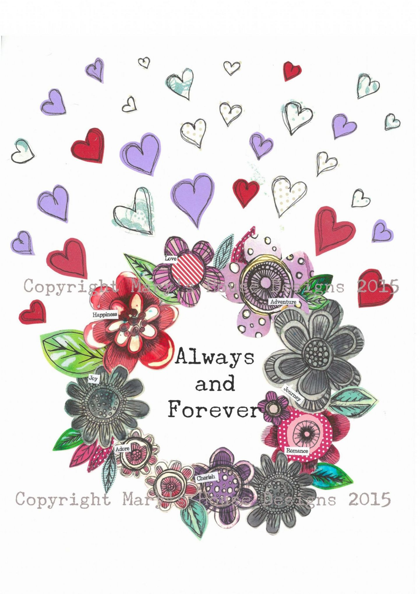 Always and Forever Fine Art Print White Can be personalised.