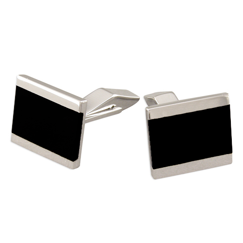 Onyx & Sterling Silver Cufflinks Lined (can be personalised).