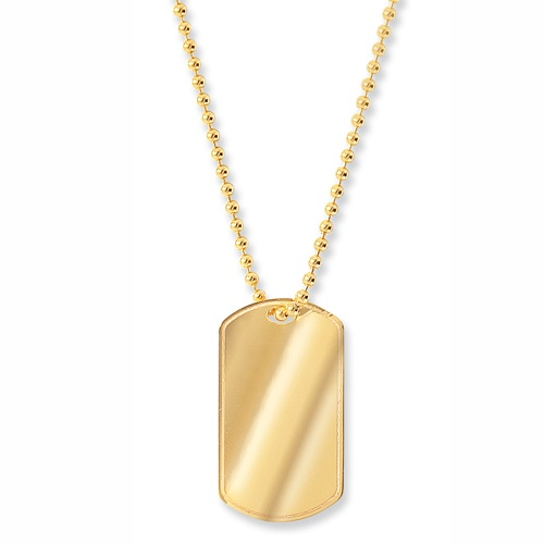 9ct Yellow Gold Dog Tag With Chain Can Be Personalised #73PYUC.