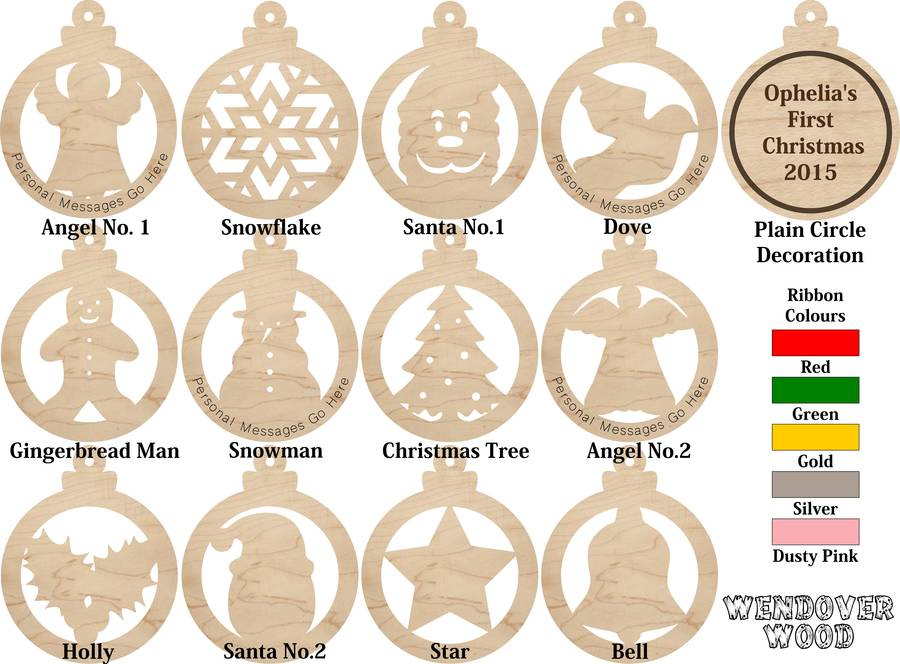 wooden christmas bauble decorations can be personalised by.