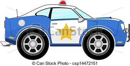 Clipart Vector of funny blue police car cartoon isolated on white.