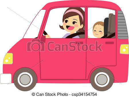 Clipart Vector of Mom Driving Car With Baby.