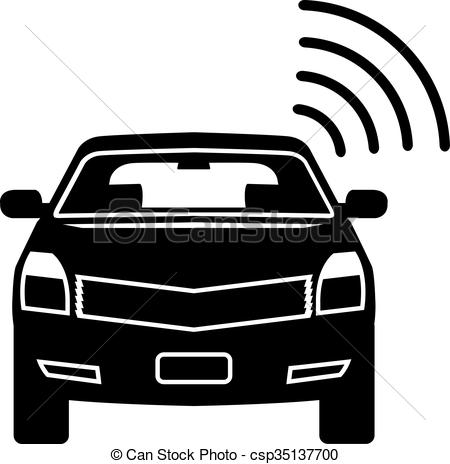 Vector Clipart of Car sensor Satellite link Wifi vector icon Alarm.