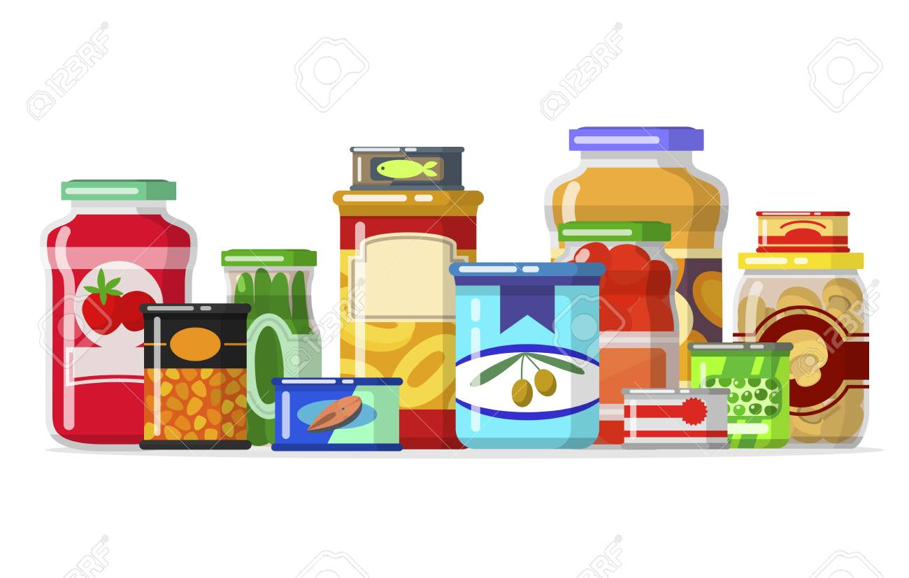 Canned goods in a row » Clipart Station.