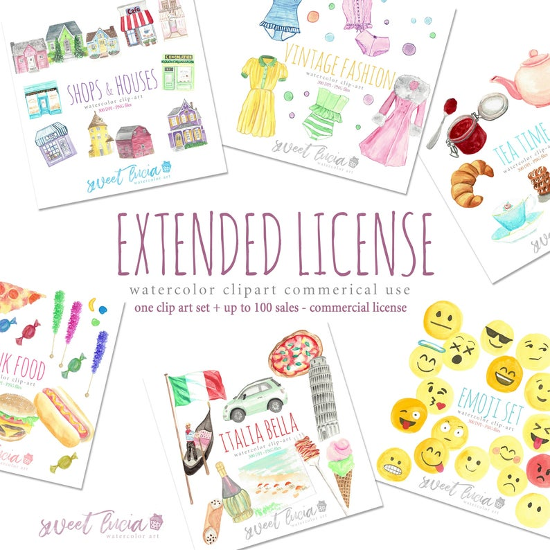 Commercial Use License for Watercolor Clipart and Patterns by Sweet Lucia  Art.