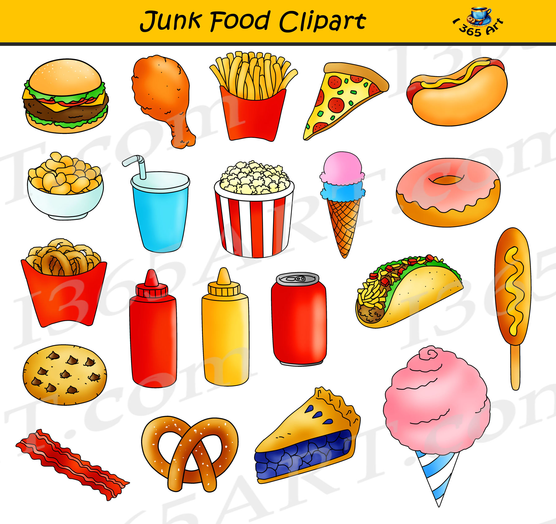 Junk Food Clipart, Fast Food Graphics Commercial Use.