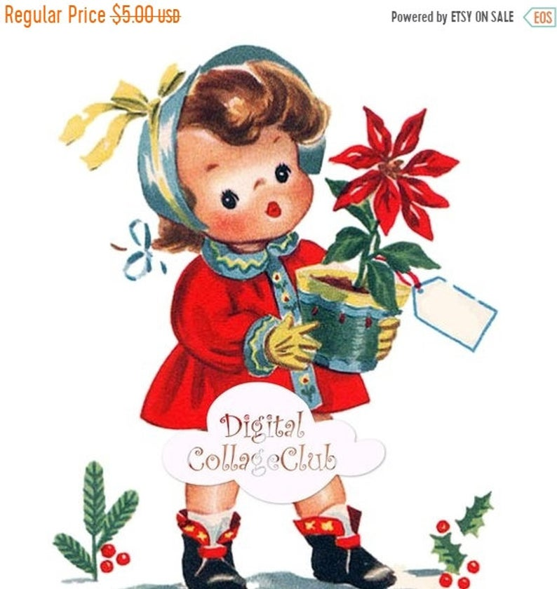 70% Off Mothers Day Sale Christmas Clip Art Clipart Vintage Christmas Large  Image for Transfer, Iron On Transfer, Fabric Image Transfer.