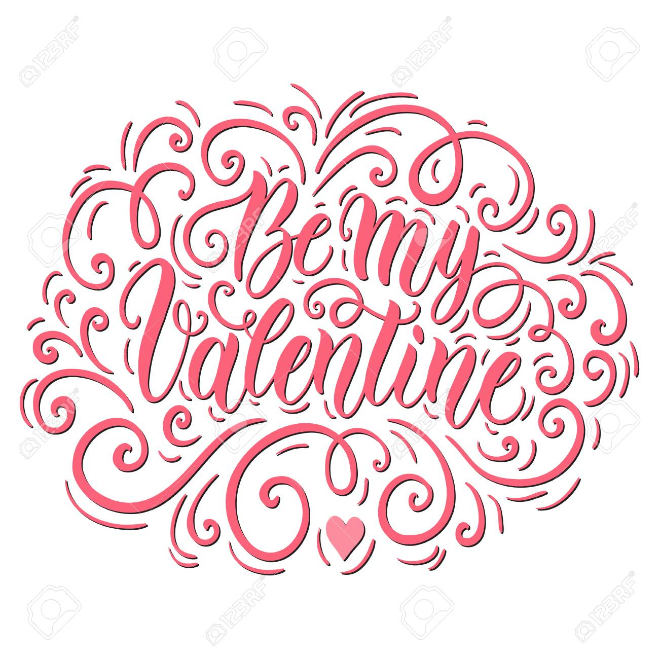 Be my Valentine hand lettering background. Can be used for website...