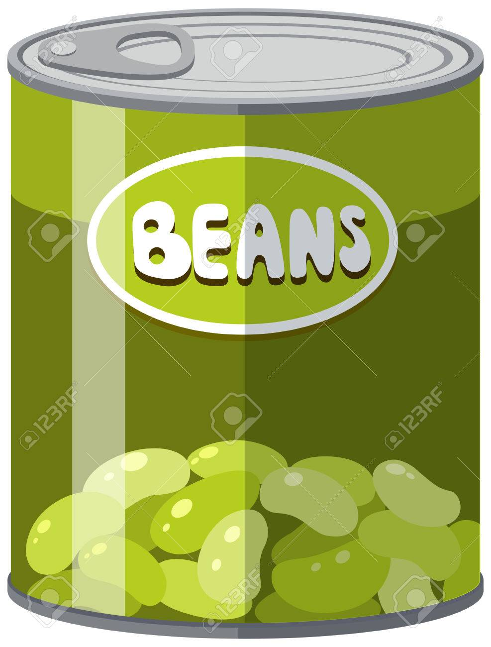 Green beans in aluminum can illustration.