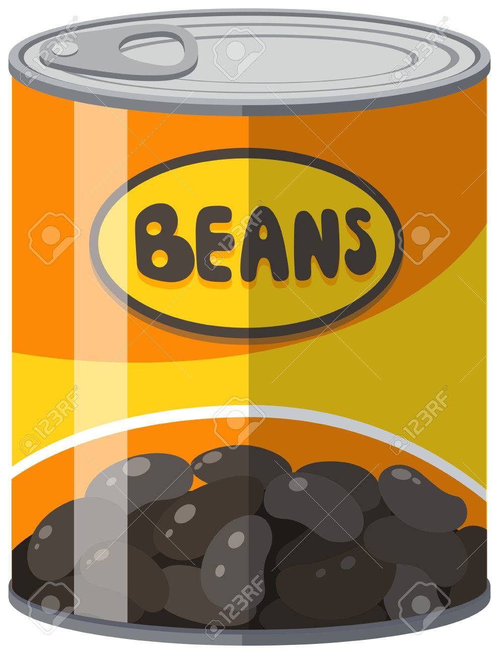 Black beans in aluminum can illustration.