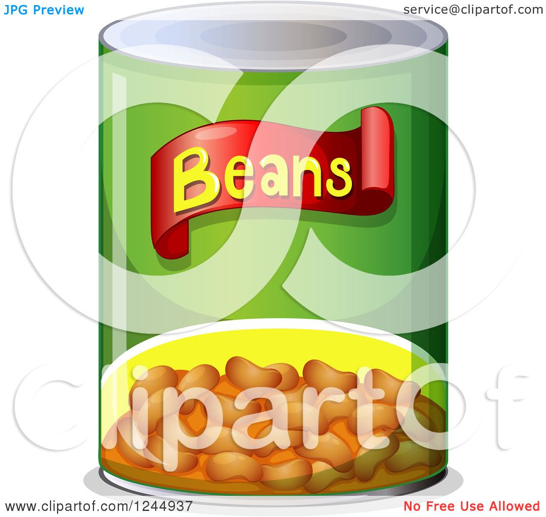 Clipart of a Can of Beans.