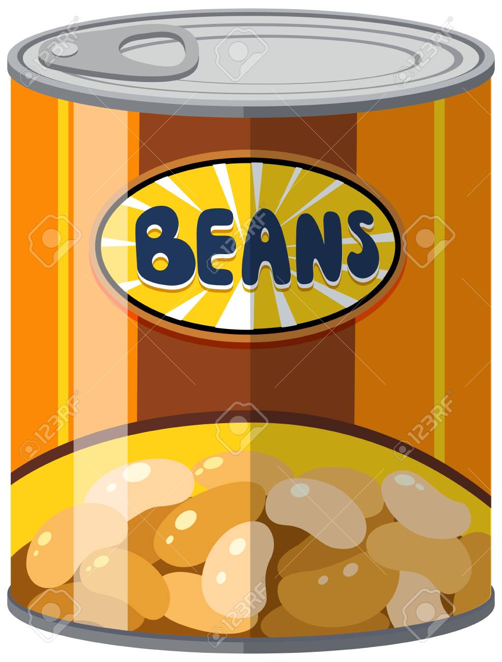 Beans in aluminum can illustration.