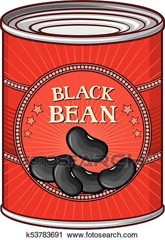 Tin of black beans Clipart.