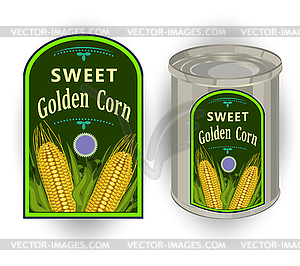 Tin can with label for canned sweet corn with.