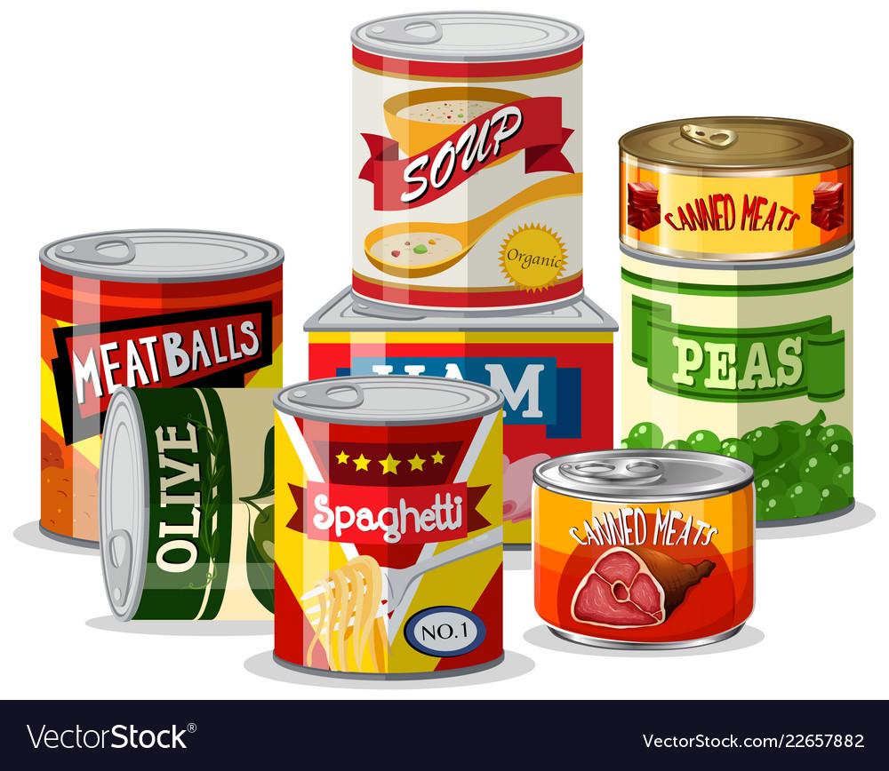 Set of tin food.