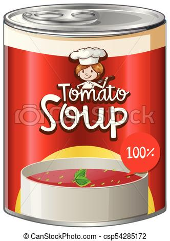 Tomato soup in aluminum can.