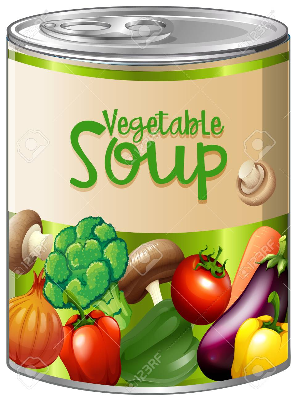 Vegetable soup in aluminum can illustration..