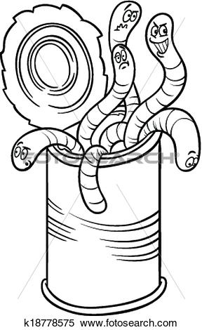 Clipart of can of worms saying cartoon k18778575.