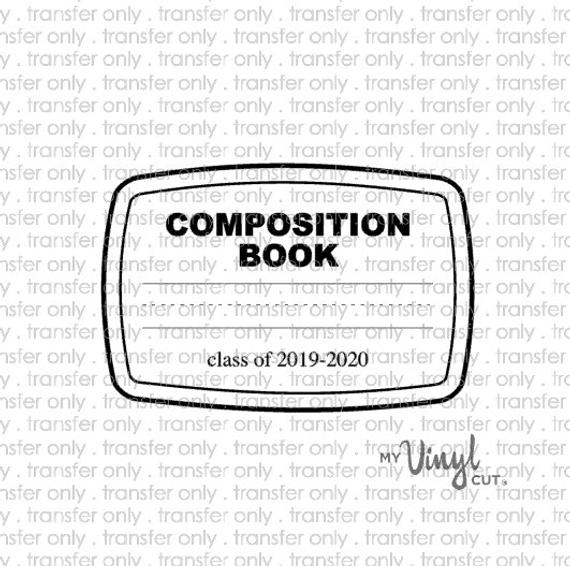 Digital File Composition Notebook SVG dxf png for print and cut for tumbler  DIGITAL FILE only teacher appreciation gift school.
