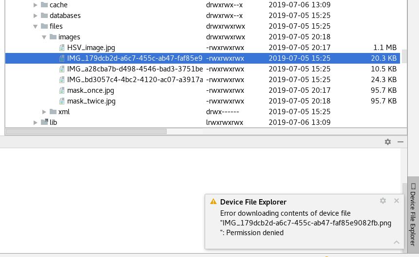 Android Studio Device File Explore Error downloading contents of.