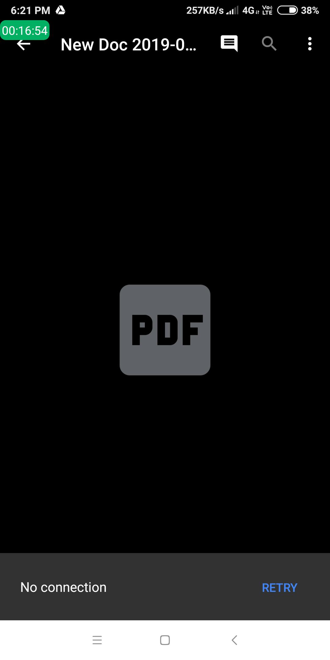 Cannot open PDF file using Google Drive app.