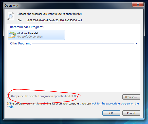 Why can't change the default program to open an extension in Windows.