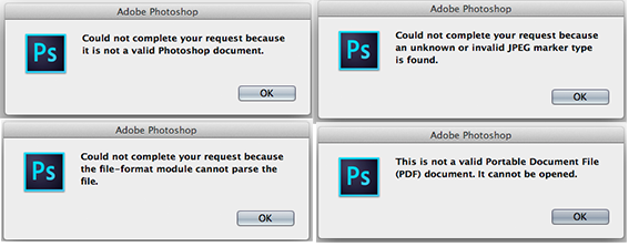 Invalid JPEG Marker error when opening images in Adobe Photoshop.