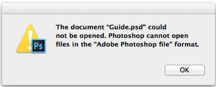 Error: Photoshop cannot open files in the