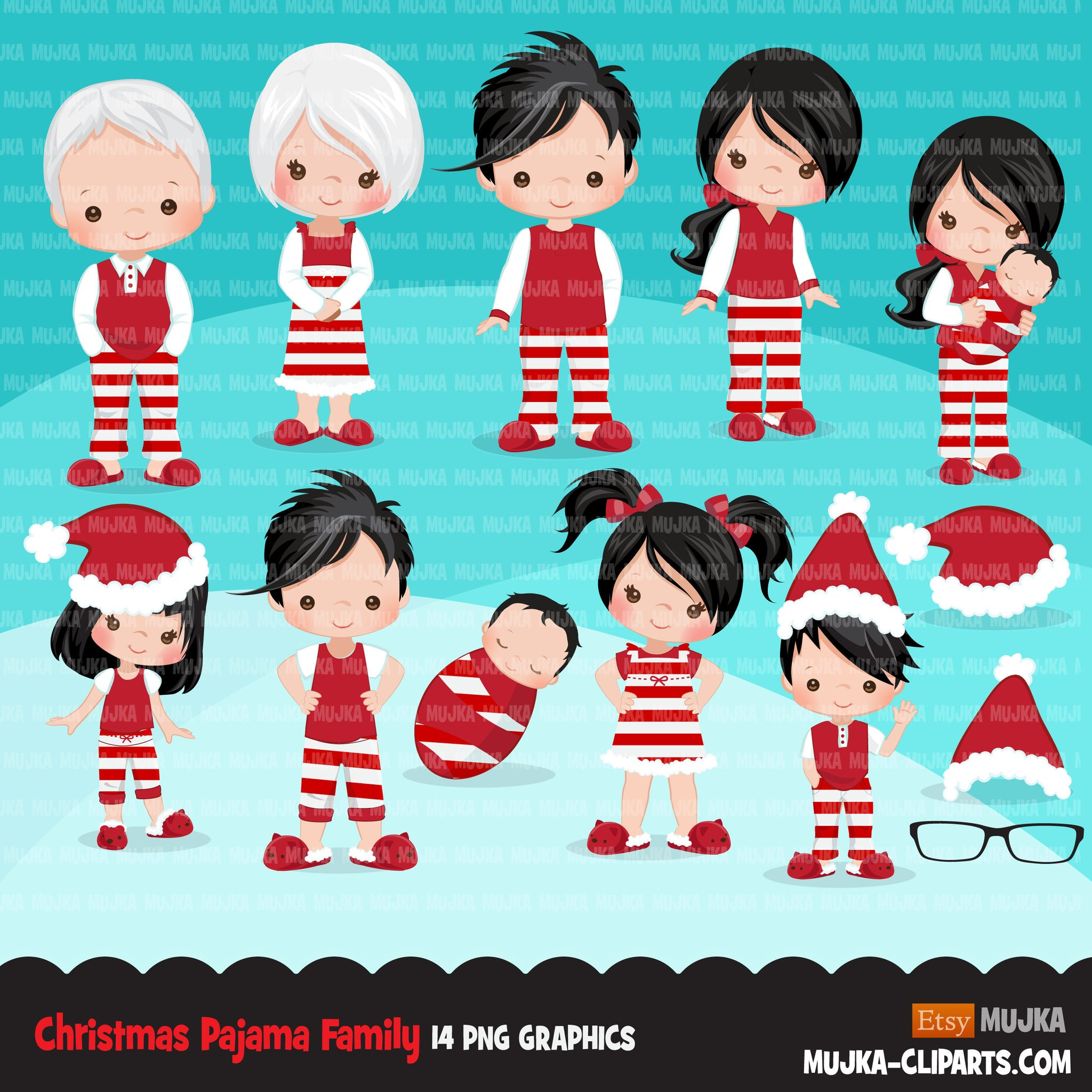 Christmas Pajama family clipart, portraits, mom, dad.
