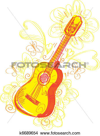Clipart of Abstract Guitar Sketchy k6689654.