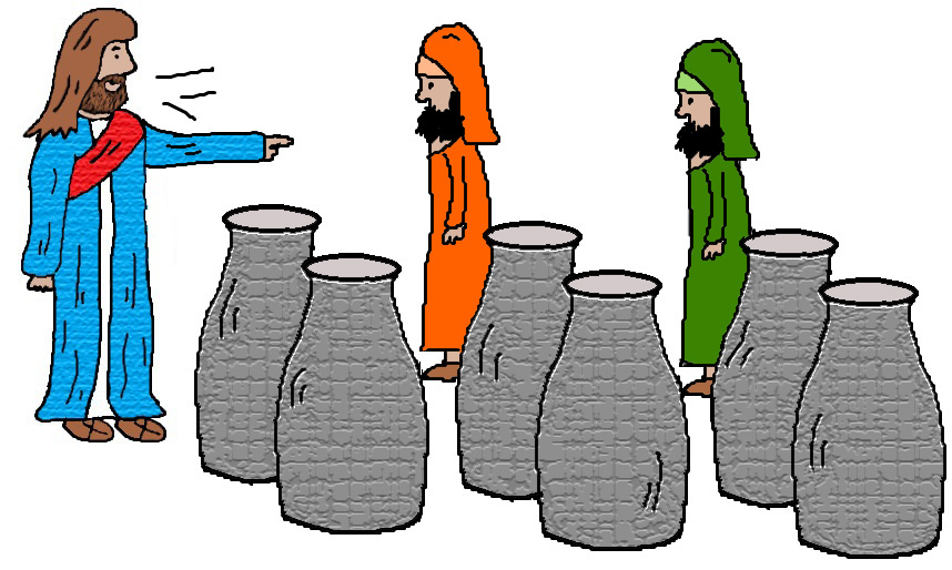 Water to wine wedding at cana clipart.