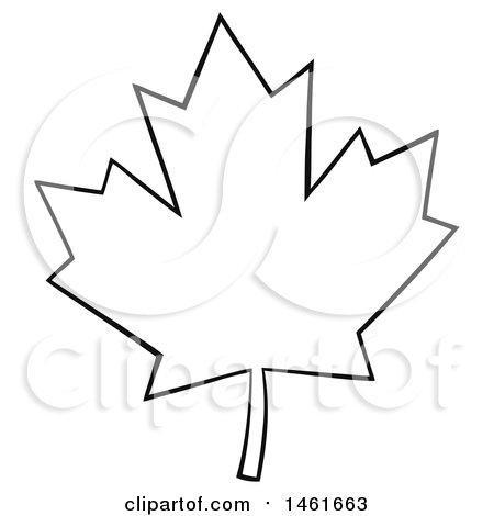 Clipart of a Black and White Canadian Maple Leaf Outline.