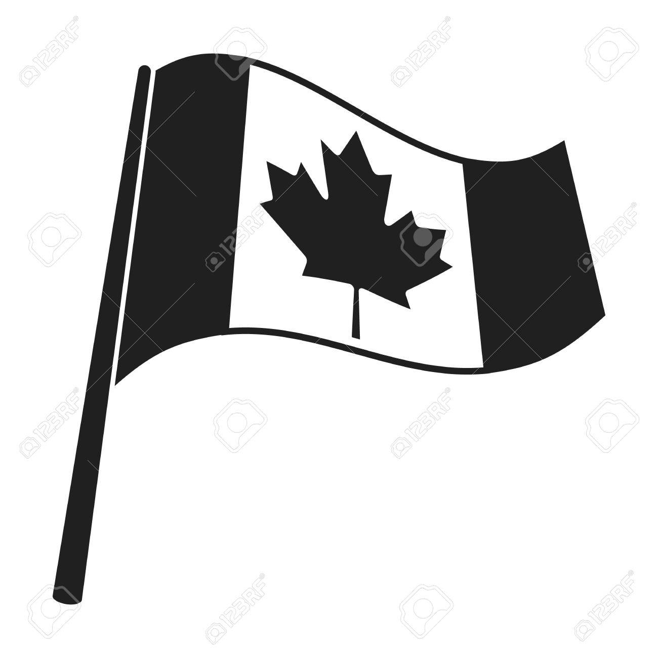 Canadian flag icon in black style isolated on white background.