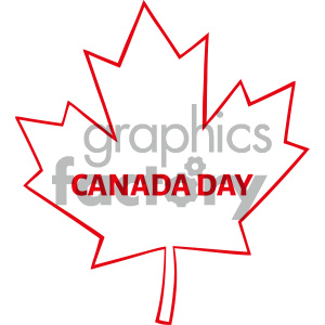 Royalty Free RF Clipart Illustration Outlined Canadian Maple Leaf Red Line  Cartoon Drawing Vector Illustration Isolated On White Background With Text.