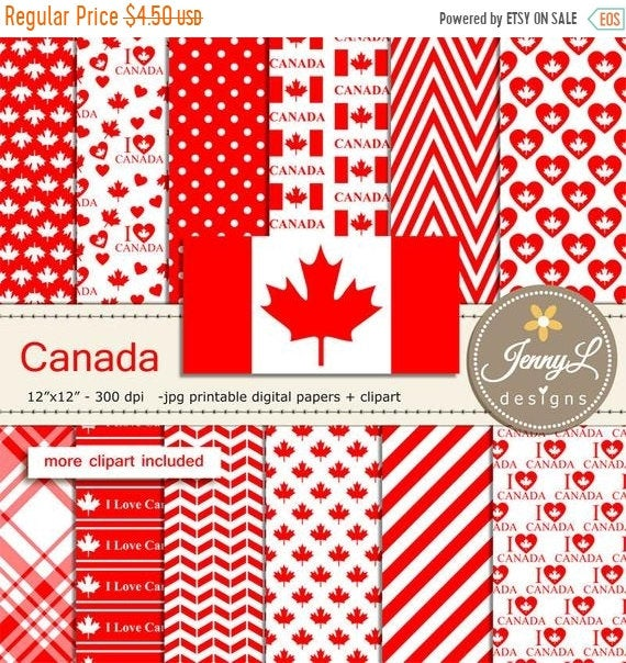 40% OFF Canada Digital Papers and Canada Flag Clipart SET, Maple.