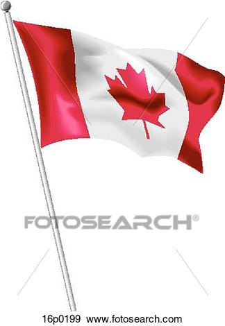 Canadian flag waving Clip Art.