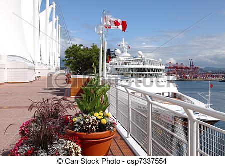 Stock Photo of Canada Place & a moored cruise ship, Vancouver BC.