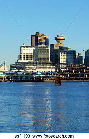 Stock Photo of Canada Place and Harbour Center with new convention.