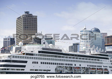 Stock Image of Canada Place Convention Center and Cruise Ship.