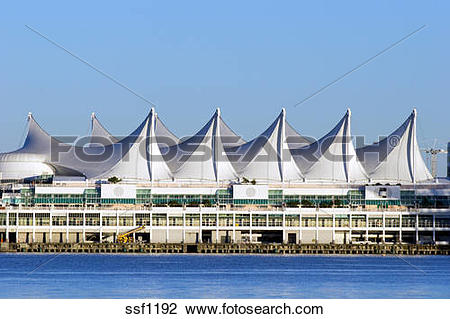 Stock Photo of The distinctive architectural sails of Canada Place.
