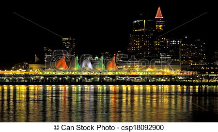 Stock Photography of Canada Place Vancouver British Columbia night.