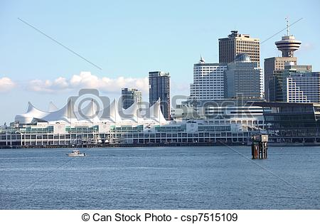 Stock Photographs of Canada Place Vancouver BC skyline, Canada.