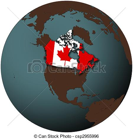 Stock Illustration of canada on earth.