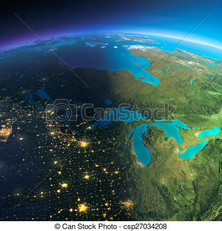 Stock Illustration of Detailed Earth. The northern U.S. states and.