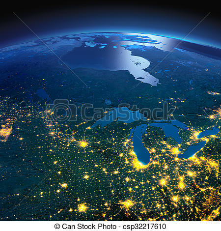 Clipart of Detailed Earth. The northern U.S. states and Canada on.