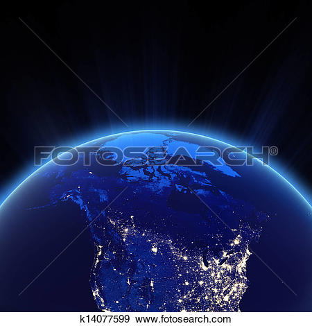 Stock Photograph of Canada and north USA city lights at night.