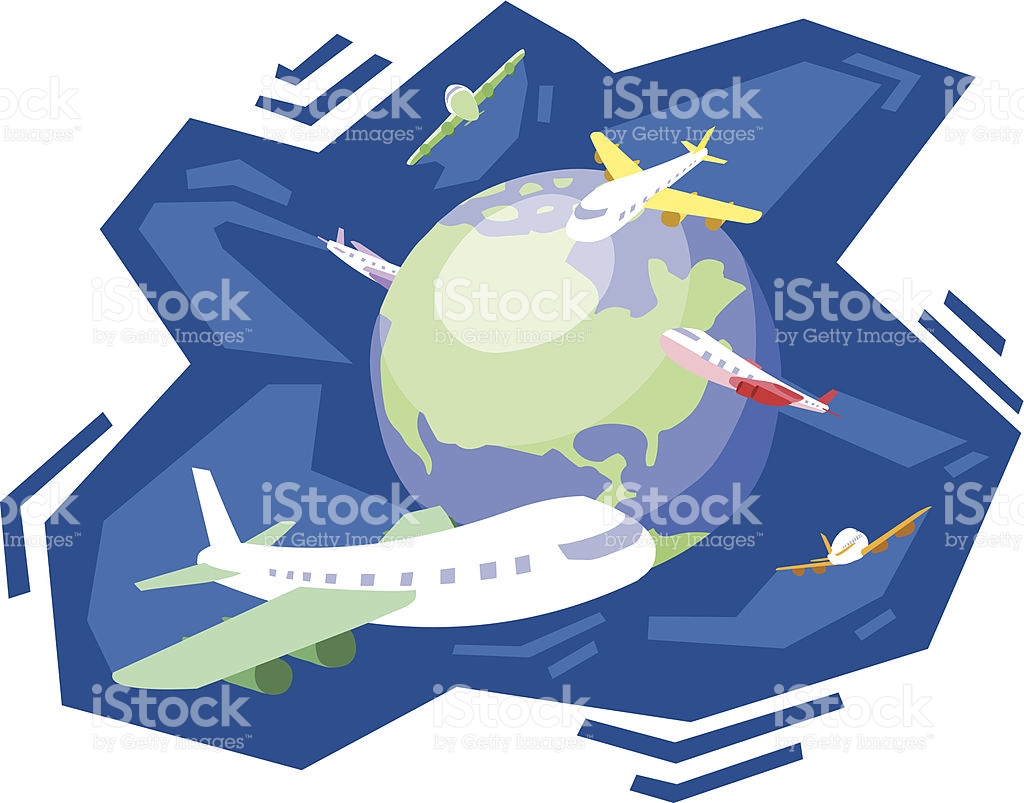 Airplane All Over The World stock vector art 165556661.