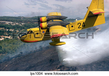 "Stock Photo of 04 France Provence ""Canadair"" Water Bomber Dropping."