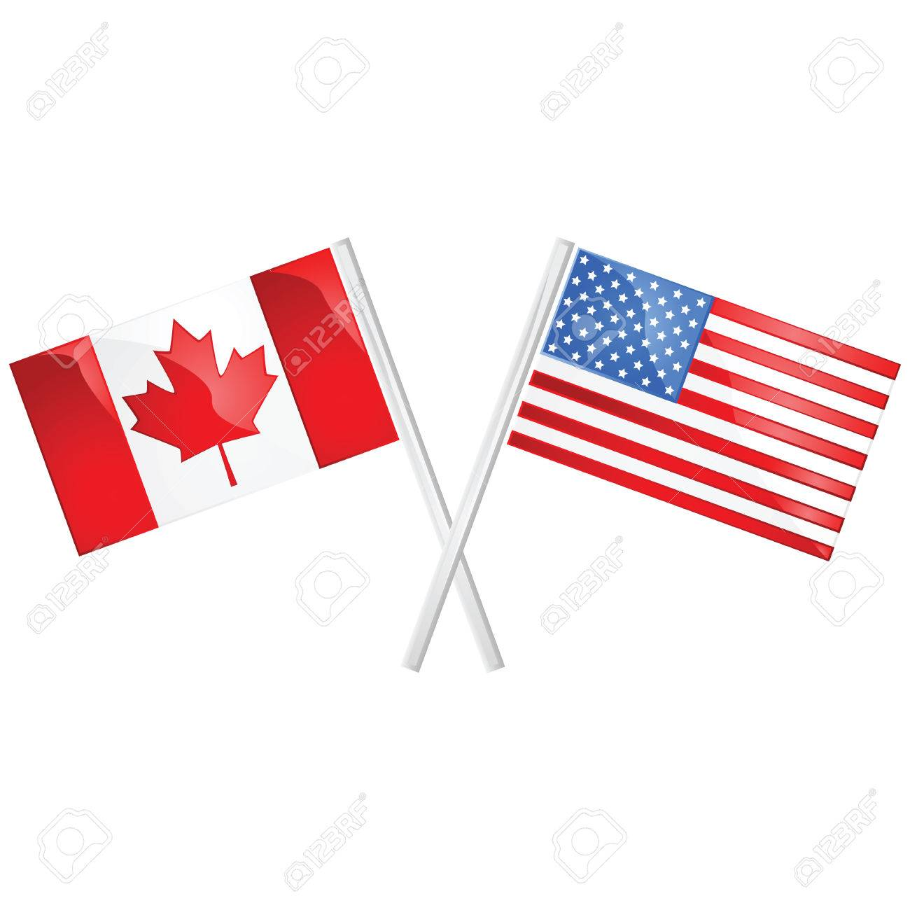 Glossy illustration of the Canadian and American flags crossed...